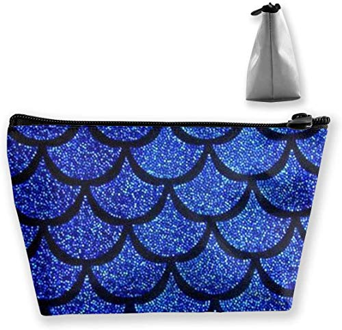 Cute Makeup Bags for Women Travel Toiletry Bag Women Sea Blue Mermaid Scales Storage Bag Holder Multi-Purpose Cosmetic Train Case Fashion Zipper Travel Bag Large Capacit.