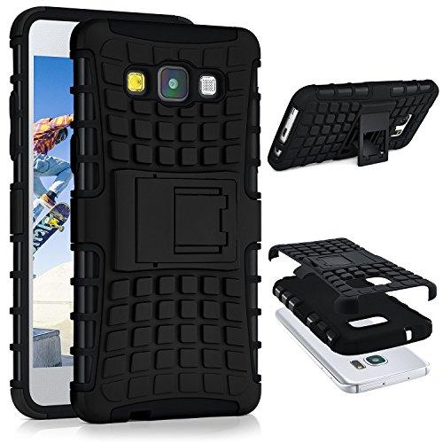 ONEFLOW® Tank Case kompatibel mit Samsung Galaxy A3 (2015) Outdoor Hülle | Panzer Handyhülle mit Ständer - 360 Grad Handy Schutz aus Silikon & Kunststoff, Schwarz