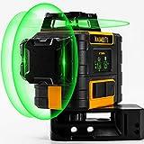 Niveau Laser Vert 3 x 360, Kaiweets Professionnel Laser Niveau Automatique, USB Charge, Autonivellement et Mode Pulsé Extérieur(Avec 2 batteries rechargeables, Support magnétique et sac de transport)
