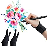 WOBEECO Drawing Glove, Two-Finger Artist Glove 2 Pack Anti Smudge for Paper Sketching, iPad, Graphics Drawing Tablet, Suitable for Left and Right Hand