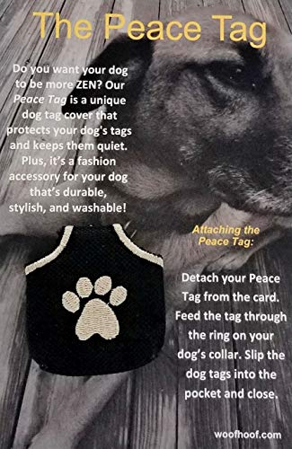 Woofhoof Dog Tag Cover - Black Pawprint