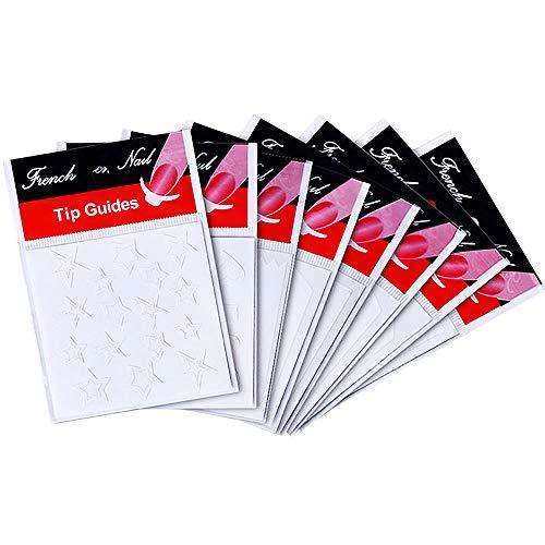 Ebanku 24 Blatt Französisch Nail Art Aufkleber Maniküre, DIY selbstklebende Nail Tip Schablonen Dekorationen Form Fringe Guides Vinyl verschiedene Formen (weiß)