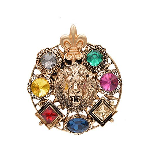 Crystal Lion Brooches for Women Round King Style Pin Animal Fashiopn Jewelry Winter Coat Jacket Accessories Party-Earrings