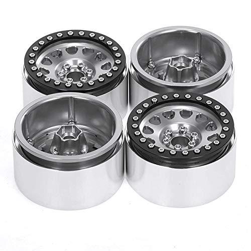 WOVELOT 4 Piezas 1/10 RC Roca Crawler Aluminio 2.2 Llantas de Rueda de Bloqueo para Axial SCX10 Capra Wraith 90048 90018 TRX4, Gris