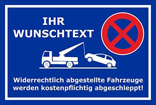 Melis Folienwerkstatt Schild - Parken verboten Wunschtext - 30x20cm | Bohrlöcher 3mm Aluverbund– S00020A-E - 20 VAR.