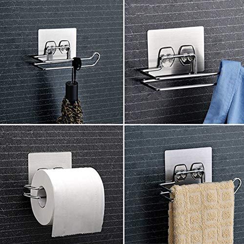 Funie Toilettenpapierhalter/Toilettenpapierhalter/Toilettenpapierhalter/Wandmontage, ohne Bohren, silberfarben OneSize silber