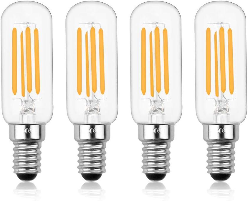 Luxvista E14 LED Regulable Vintage Edison Tubular Bombilla de Filamento, T26 4W Equivalente a 40W con 400 LM, para Campana Extractora (4-Unidades, Luz Fría 6000K)
