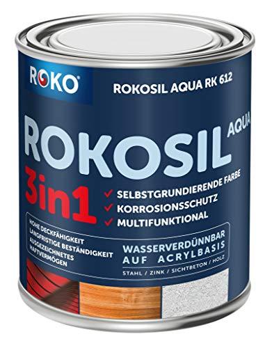 Acryl-Buntlack ROKOSIL - 0,7 Kg in Weiss - Seidenmatt - Wetterfest für Außen & Innen - 3in1 Grundierung & Deckfarbe - Premium Acryllack - Lack für fast alle Oberflächen - Langlebig & Robust