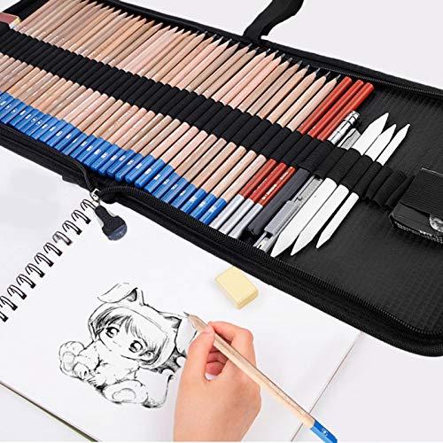 Juego de lápices de dibujo con sacapuntas Lápices de dibujo Estuche de lápices enrollable de arte con lápiz de carbón de dibujo para artista para niños y adultos