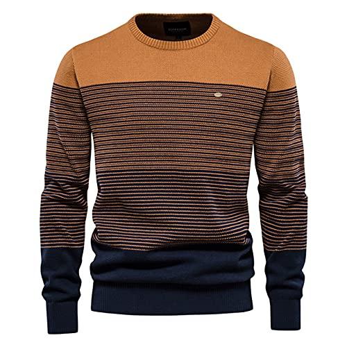 SSBZYES Suéter De Hombre Suéter De Contraste De Rayas para Hombre Suéter De Rayas De Cuello Redondo Delgado para Hombre Jersey De Hombre Top Casual