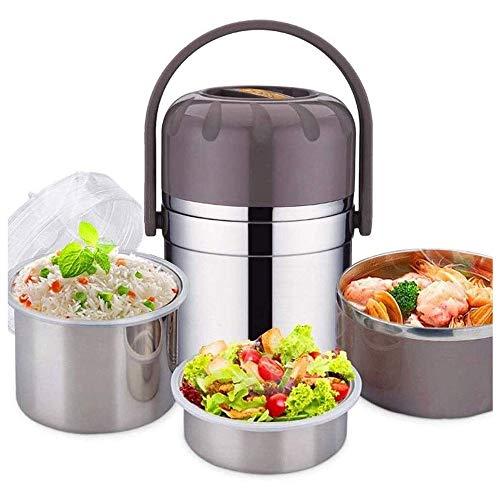 CHENCfanh fiambrera Caja de almuerzo del aislamiento del acero inoxidable, tarro de Alimentos portátil almuerzo Botella sopa, tres capas envase de alimento for mantener la comida caliente en el comedo