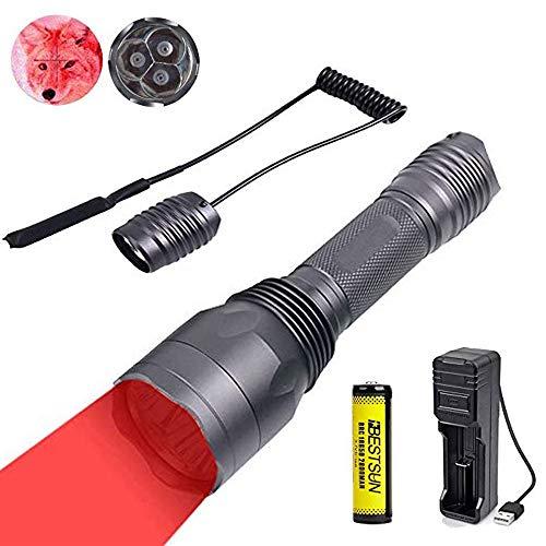 Rotlicht-Taschenlampe, taktische Taschenlampen-Kit wiederaufladbar für Coyote Hog Fox Leistungsstark durch 3x XP-E2 LED-Strahlen 650 Lumen 300 Yards 1 Modus mit Druckschalter