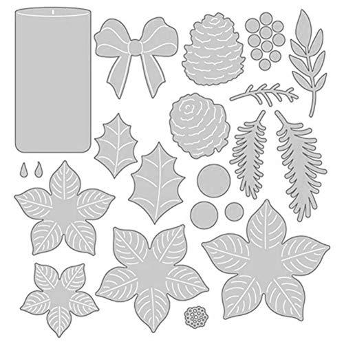 TankMR Kerze Blume Metall Stanzformen, Prägeschablone Vorlage Für DIY Scrapbook Album Papier Karte Kunsthandwerk Dekoration Silber