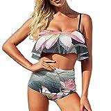 Bikini vintage flores pintura traje de baño para las mujeres traje de baño de dos piezas agua más el tamaño Volantes Strappy Halter Set, Blanco-estilo1, S