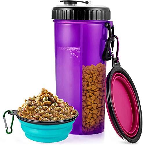laamei Hunde Wasserflasche und Futterflasche 2-in-1 Trinkflasche mit 2 Hundenapf Faltbar Wassernapf, Haustier Faltbar Reisenäpfe für Unterwegs, Camping, Spaziergang 400ml (Lila)