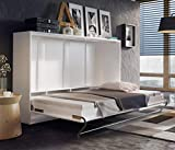 Arthauss Modern Bedroom Horizontal Fold Away Pull Out Murphy Bed in White Gloss in 3 Sizes sold (140 x 200cm)