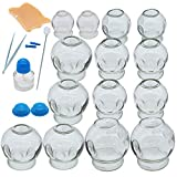 14 Cups Cupping Therapy Sets,Thick Glass Cupping Therapy Set for Professionals,Chinese Cupping Therapy Set