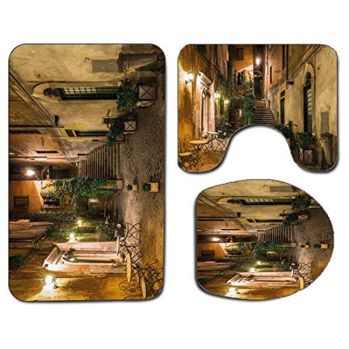 3Pcs Alfombra de baño antideslizante Juego de tapa de asiento de inodoro Alfombra de baño italiana antideslizante suave Patio antiguo Roma Italia Sillas de café Ciudad Casas históricas en la calle, Al