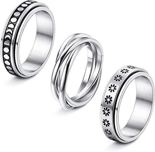 Adramata 3Pcs Stainless Steel Fidget Band Rings for Women Spinner Rings Triple Interlocked Rolling Flower Moon Ring Celtic Stress Relieving Wedding Promise Rings Set