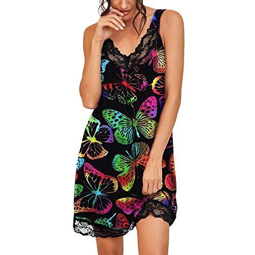HCOO Nachthemd Damen Sexy Lang Pyjama Nachtwäsche Baumwolle Sexy Spitze Bademantel Freizeitkleid Kleid Langärmeliges