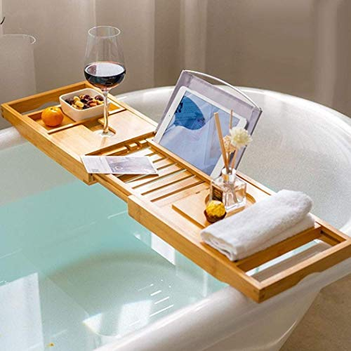 WCYDRUM Wooden Bath Tray, Expandable Bathtub Caddy Tray,Bamboo Bath Towel Holder, Wine Glass Holder, Tablet Holder, Phone Tray suitable for most Baths 75-110cm (Natural Bamboo)