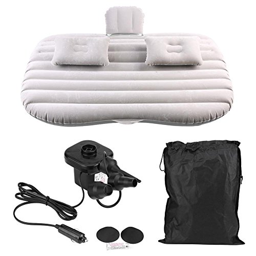 Inflatable Mattress for SUV, Durable Inflatable Travel Mattress PVC Flocking Soft Sleeping Rest Cushion with An Electric Air Pump for Car SUV(Grey)