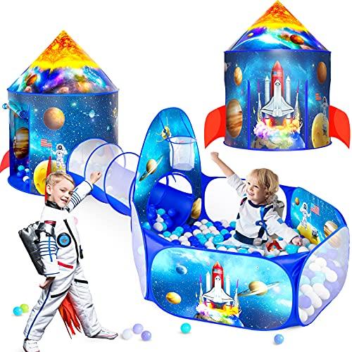 Tienda de 3 piezas de princesa para niñas con hoyo de bola para niños, tiendas de campaña para niños y túneles de arrastre para niños, juguetes de casa de juegos para bebés en interiores y exteriores, regalos de cumpleaños para niños (3 piezas)