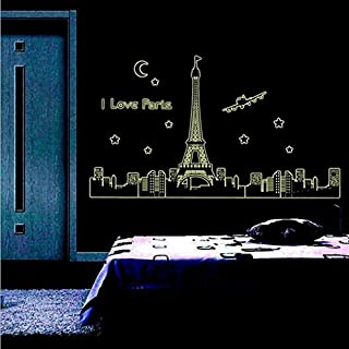 OTTATAT Wall Stickers Flowers 2019,Eiffel Tower Luminous Wall Art Decal Sticker Removable Mural PVC Gift Easy to Stick Honeymoon Gifts Home Gift for Mother Free Deliver