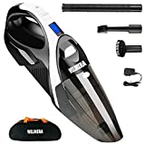 Handheld Vacuum, WELIKERA 12V 100W Hand held Cordless Vacuum Cleaner, Portable Pet Hair Vacuum, Cordless Rechargeable Hand Vacuum with Stainless Steel Filter, with A Carrying Bag, Black