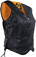 Womens 7 Pocket Naked Leather Motorcycle Vest with Gun Pockets (L, Black)