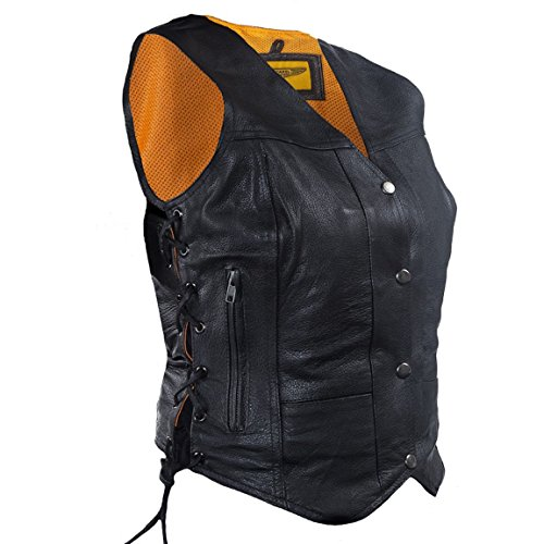 Womens 7 Pocket Naked Leather Motorcycle Vest with Gun Pockets (5XL, Black)