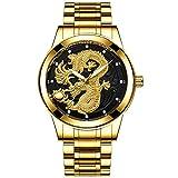 Reloj de Pulsera de Negocios de Cuarzo con dragón Dorado para Hombre, Correa de Acero Inoxidable, Regalos, Padre, Esposo, Hijo