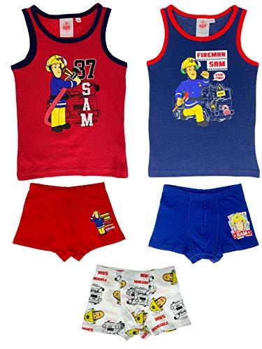 Fireman Sam Feuerwehrmann Sam - Jungen Unterwäsche-Set, Unterhemden + Boxershorts - Vorteils Package - Top Qualität, Farbe:Blau. Weiß & Rot, Größe:122/128