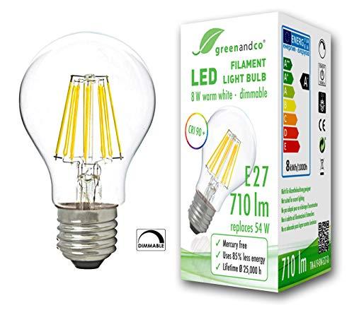 greenandco® CRI90+ Glühfaden LED Lampe dimmbar ersetzt 54 Watt E27 Birne, 8W 710 Lumen 2700K warmweiß Filament Fadenlampe 360° 230V AC nur Glas, flimmerfrei, 2 Jahre Garantie