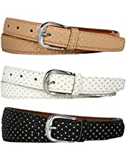 SIDEWOK Combo of 3 Polka Dot Print Casual Sleek Belts For Women/Girls