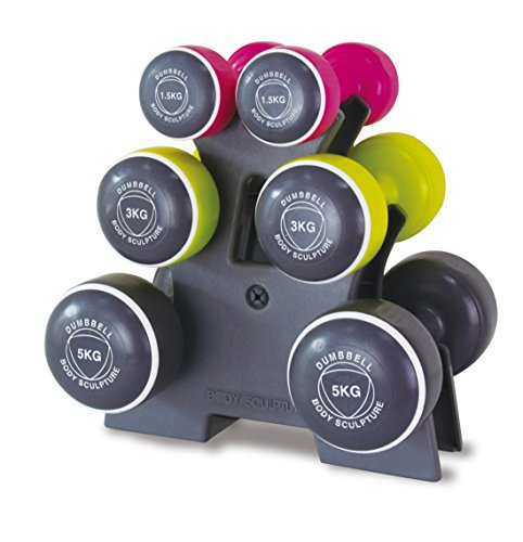 Body Sculpture Smart Dumbbell Tower (19KG) Torre de Mancuernas, Gris/Rosa/Verde