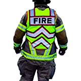FIRE NINJA FIRE VEST-Class 2 Reflective - High Visibility Public Safety Vest - Bright Neon Reflective Colors - Double Breakaway Zipper - For Fire and Public Safety Departments
