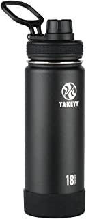 Takeya 51060 Actives Insulated Stainless Steel Water Bottle with Spout Lid, 18 oz, Onyx