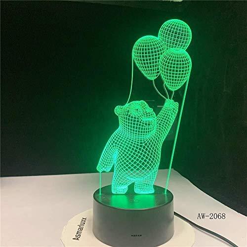 QB Creatief nachtlampje 3D illusie cartoon, Nachtlampje Beer Houd Ballon Licht 3D LED Nachtlampje Slaap Visuele Bureau Lamp USB 7 Kleur s Fixture Nachtlampje Geschenken