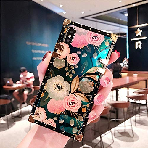 Compatible for iPhone 7s /iPhone 8 case, BabeMall Elegant Premium Flower Retro Color Blu - ray Scratch Proof Square PU Leather Protective Metal Decoration Corner Back Cover Case -Flower 1