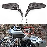 Black Motorcycle Side Mirror Teardrop for Road King Street...