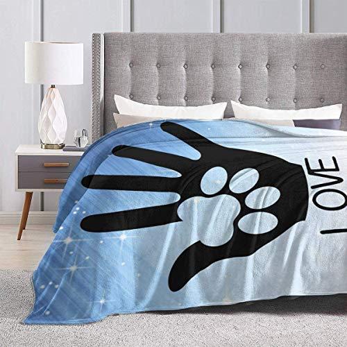 AEMAPE Throw Blanket Hand Love Paw Sign Alfombra Gruesa Colcha de Coche para Mujer Colchoneta para Dormir Pad Cubierta de Franela para Invierno 50 'x 60'