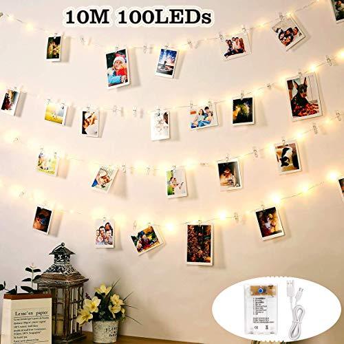 Luces de Cadena DazSpirit LED Photo Clip Para Habitación, USB y Batería 100 LED 10M con 50 Decoraciones de Clip de Plástico Transparente para Interiores, Hogar, Bodas, Dormitorios