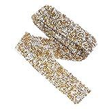 FENICAL Cinturón Nupcial Rhinestone Nupcial Vestido de Novia Cinturón de Diamante Cinturón Nupcial 3cm (Amarillo)