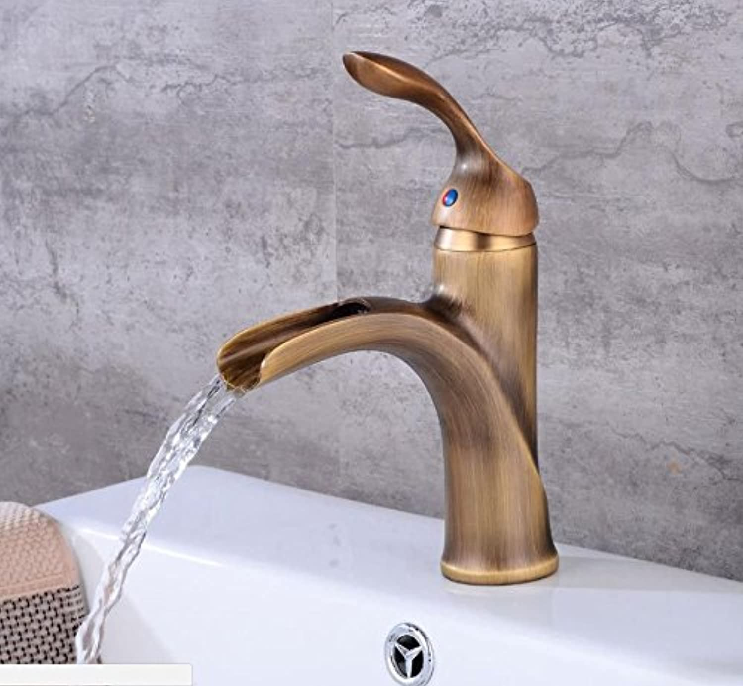 SADASD Contemporary Bathroom Full Copper Basin Faucet Waterfall Brass Basin Sink Mixer Tap Ceramic Spool Single Hole Single Handle Cold Water With G1 2 Hose
