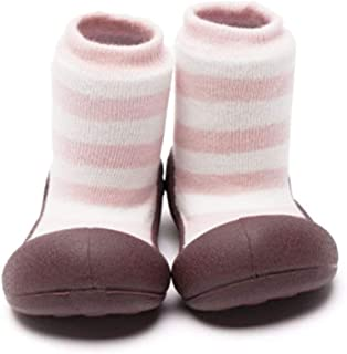 Attipas Herb Organic Baby Walker Shoes, Pink Border, Large