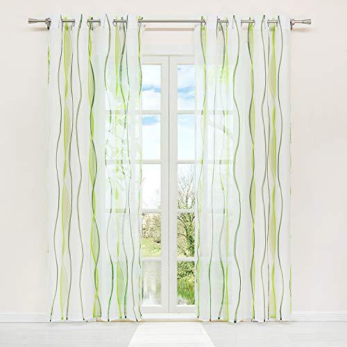 HongYa 1er-Pack Voile Gardine Transparenter Vorhang mit Ösen Wellen Druck H/B 225/140 cm Creme Grün
