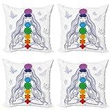 ABAKUHAUS Paz Set de 4 Fundas para Cojín, Yoga Meditación Actitud del Loto, Estampado Digital en Ambos Lados y Cremallera, 45 cm x 45 cm, Multicolor