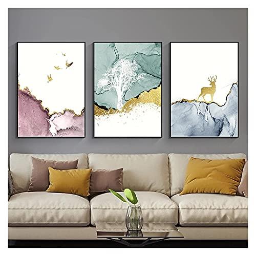 Imagen moderna de la pared Abstract Mármol Dorado Pájaro de la lámina de los ciervos Pintura de la lona para la sala de estar Dormitorio Pósteres Pósteres Posters Decoración para el hogar 60x80cm-3pcs