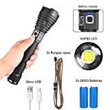 High Power XHP90 LED Flashlight with Two 26650 High Capacity USB Rechargeable Batteries